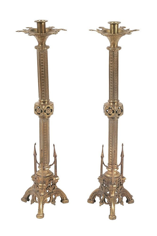 PAIR OF NEO GOTHIC CANDLESTICKS CIRCA 1920