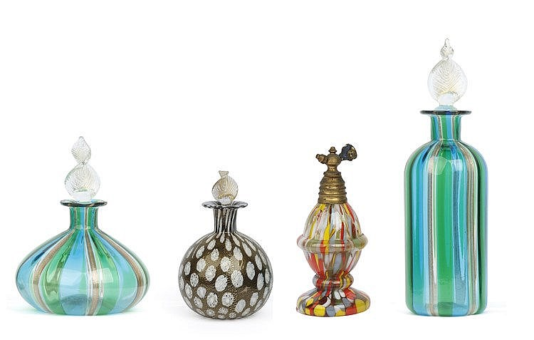 20th CENTURY FOUR MURANO GLASS PERFUME BOTTLES