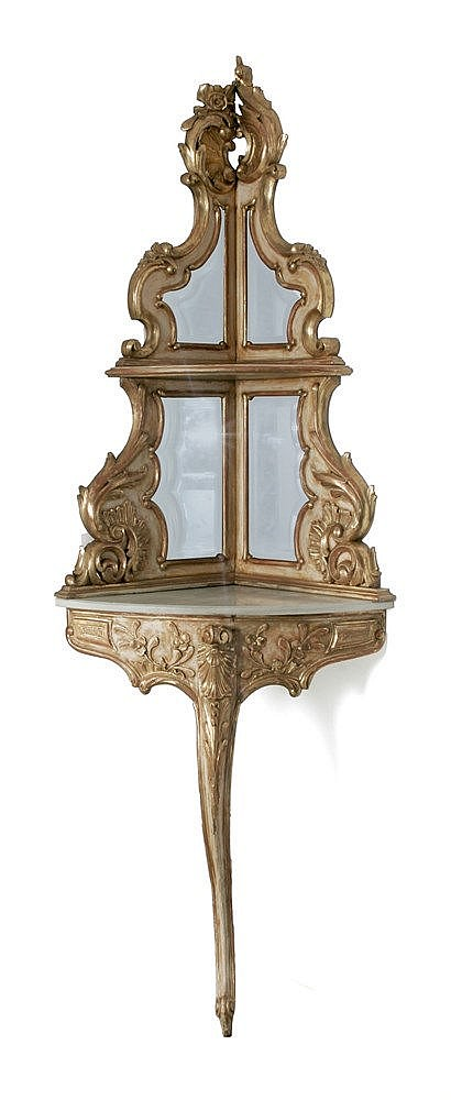 20th CENTURY LOUIS XV STYLE CORNER CONSOLE TABLE
