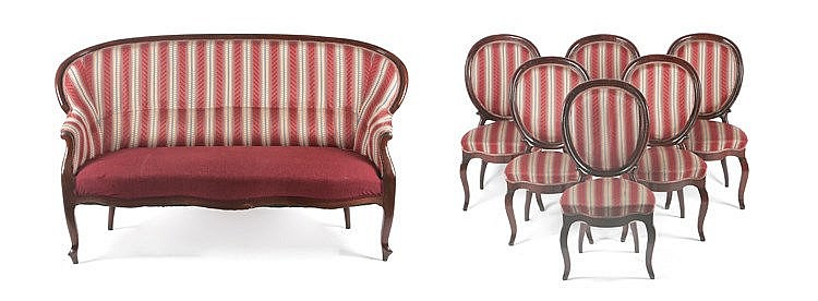 19th CENTURY SPANISH ELIZABETHAN PERIOD SIX CHAIRS AND SOFA SET