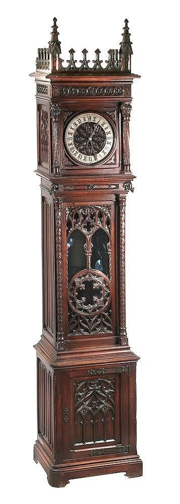NEO-GOTHIC STYLE LONGCASE CLOCK CIRCA 1900