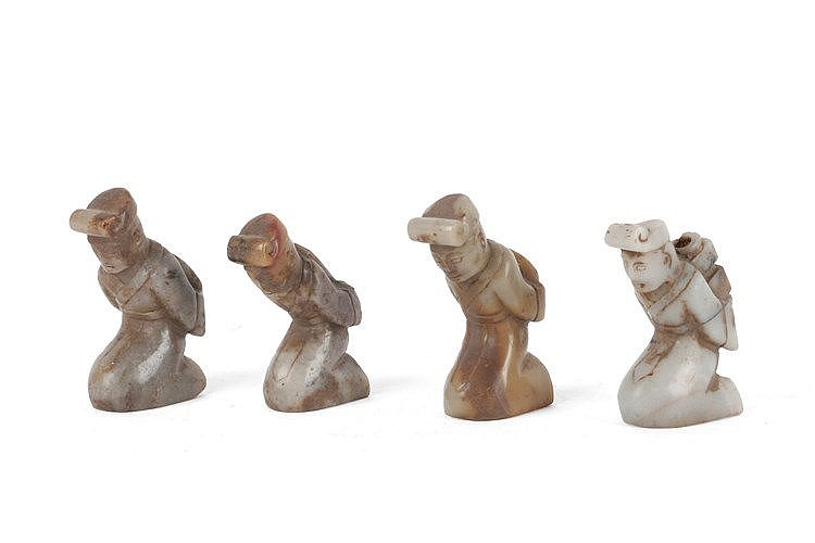 19th CENTURY FOUR CHINESE PRAYING FIGURINES