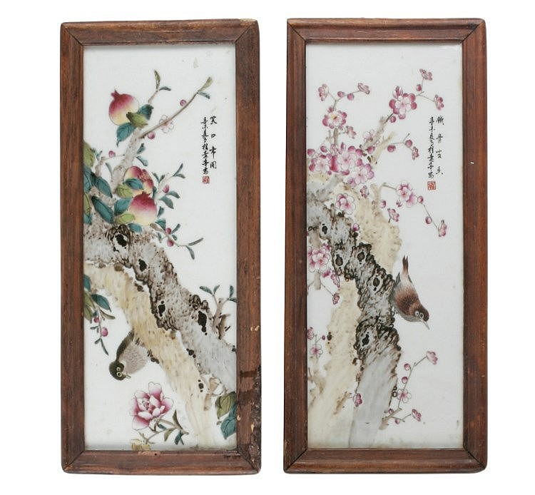 PAIR OF EARLY 20th CENTURY CHINESE PORCELAIN PLAQUES