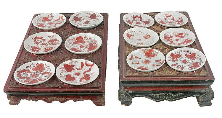 PAIR OF 20th CENTURY CHINESE APERITIF TABLE TRAYS