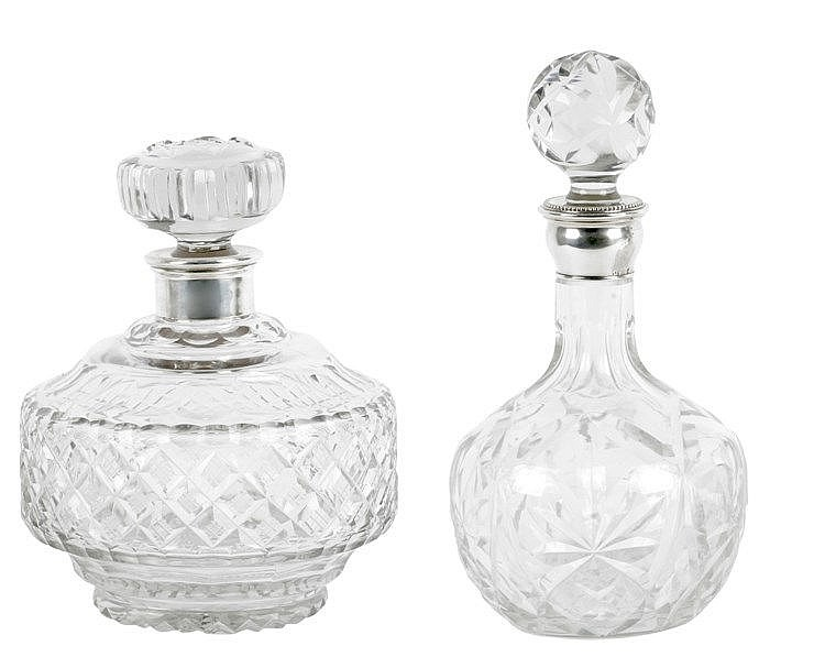 20th CENTURY PAIR OF SILVER AND CUT GLASS LIQUOR BOTTLES