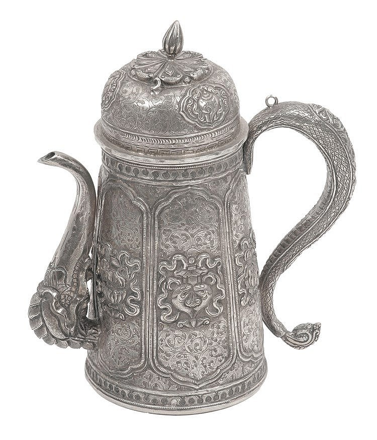 19th CENTURY HINDI SILVER TEAPOT