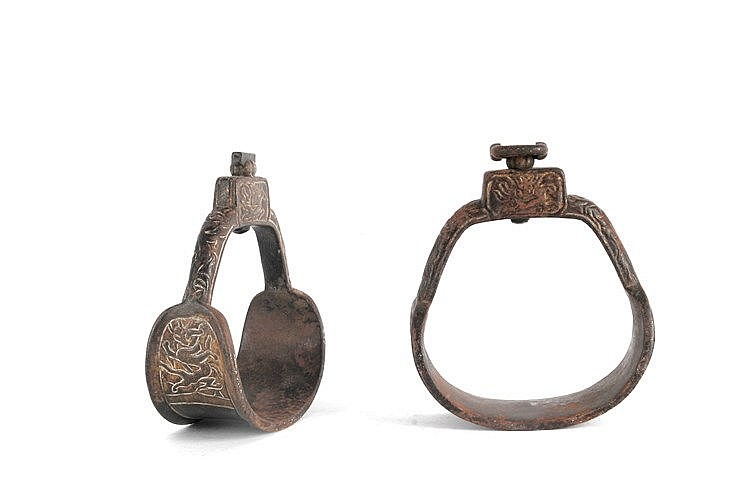 PAIR OF 18th CENTURY TIBETAN STIRRUPS