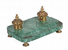 LATE 19th CENTURY RUSSIAN GILT BRONZE AND MALAQUITE INK STAND