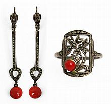 RING AND EARRINGS  SET 19th CENTURY