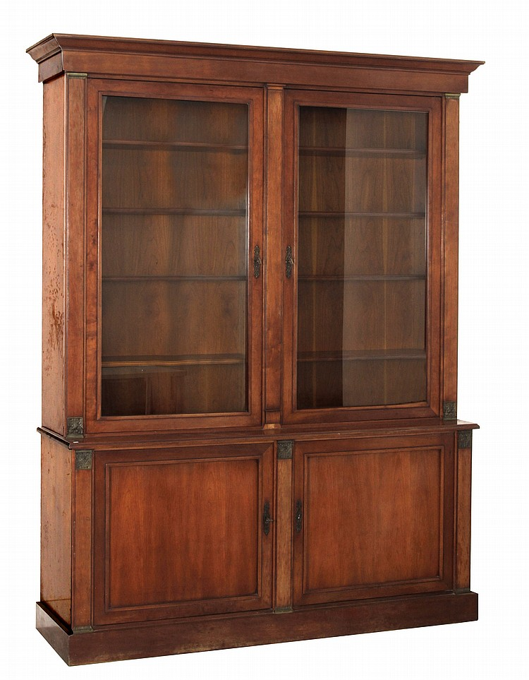 Cherry Wood Bookcases ~ ᵗʰ century french empire style cherry wood bookcase