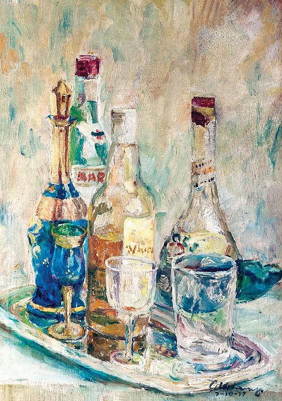 Diosdado Lorenzo - Still Life with Bottles