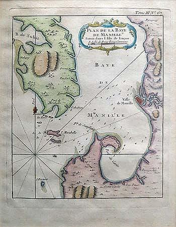 Jacques Nicolas Bellin - Plan de la baye de Manille situee dans l'isle de Lucon