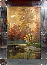 SEGAUD Armand (1875-1956) Panneau décoratif sur fond d'or à décor d'une scè