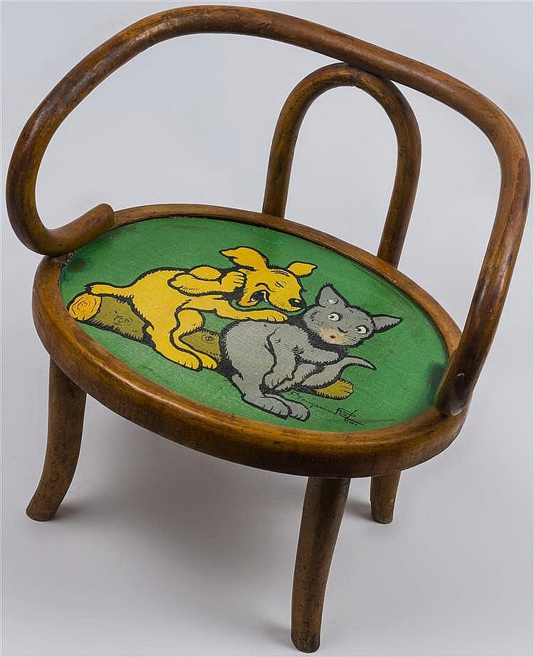 benjamin rabier 1864 1939 chaise d 39 enfant en bois courb. Black Bedroom Furniture Sets. Home Design Ideas