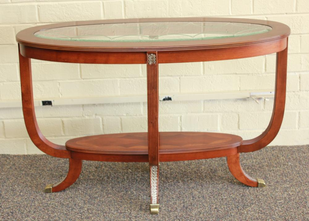 Oval Inlaid Glass Insert Console Table