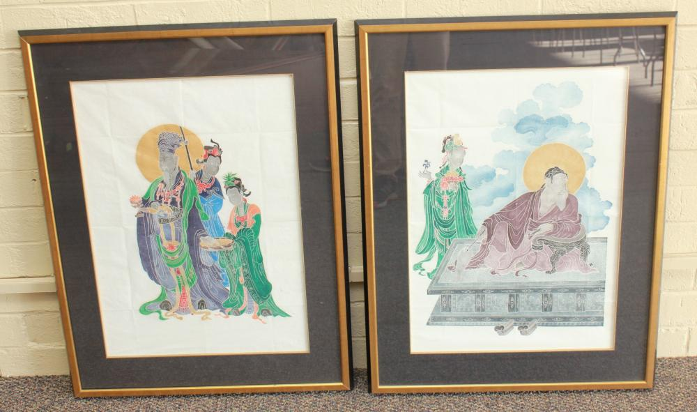 Pair of Framed Chinoiserie Prints on Rice Paper