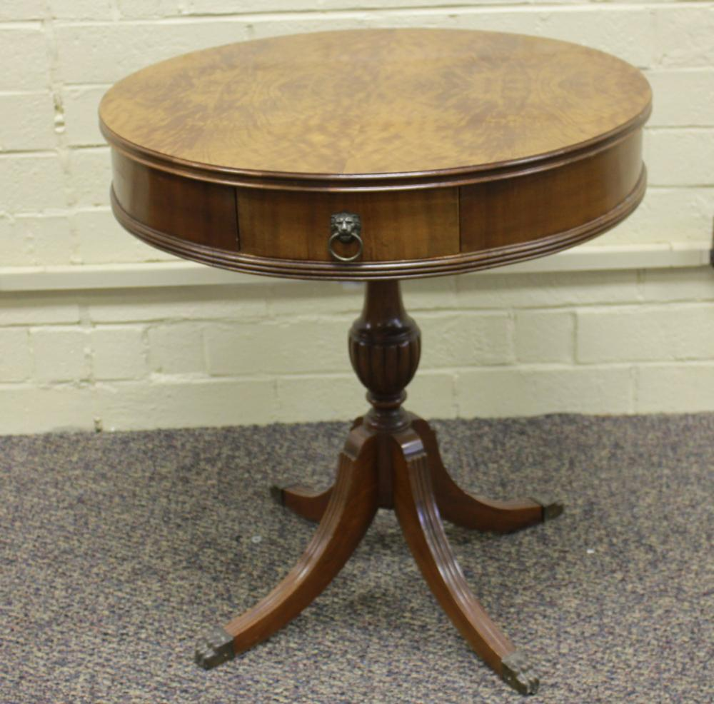 Mahogany Drum Table with Burl Top