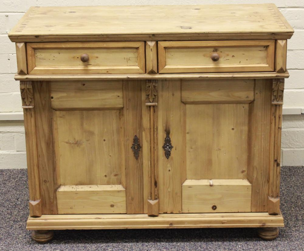 Strip Pine Two Drawer over Two Door Chest