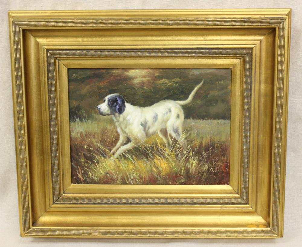 Oil on Canvas of English Setter in Field