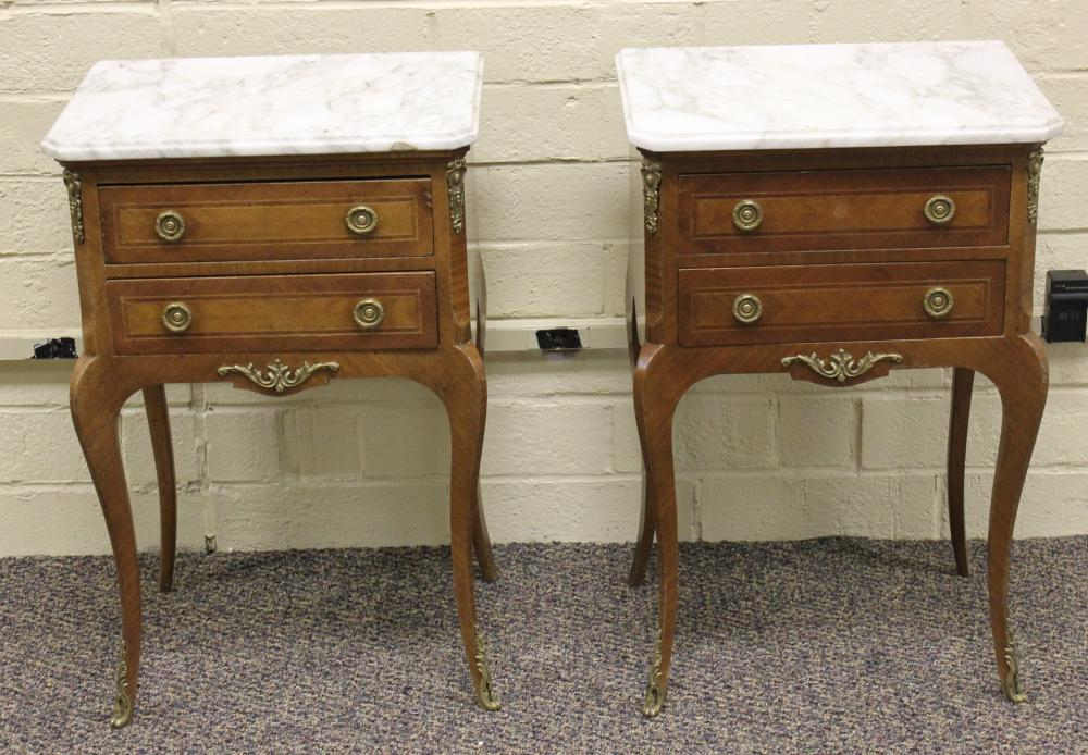 Pair of French Satin Wood Marble Top 2 Drawer Stands