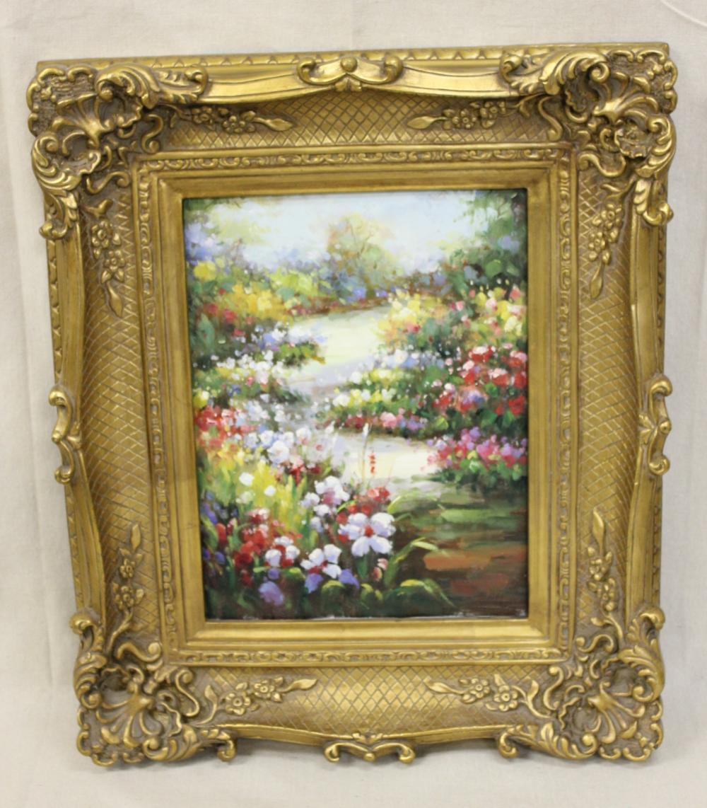 Oil on Canvas of Flowers in Ornate Gold Frame