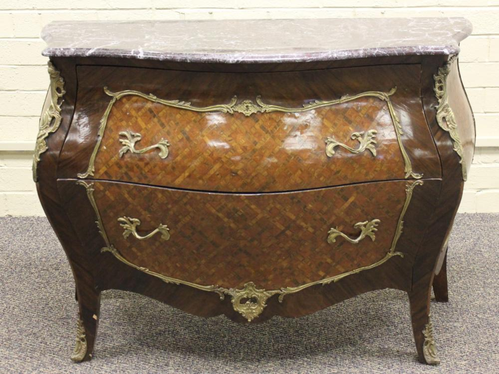 Italian Marble Top Bombe Commode