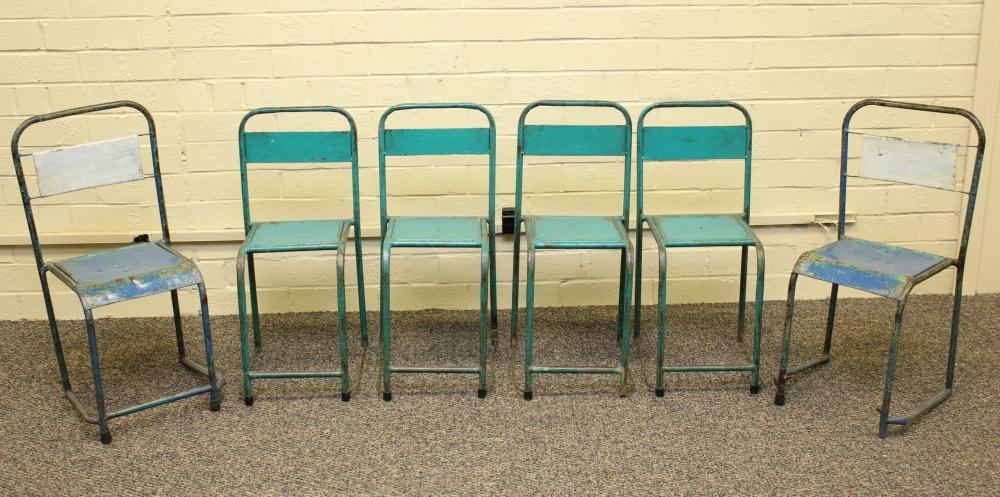 Set of 6 Small Industrial Metal Chairs