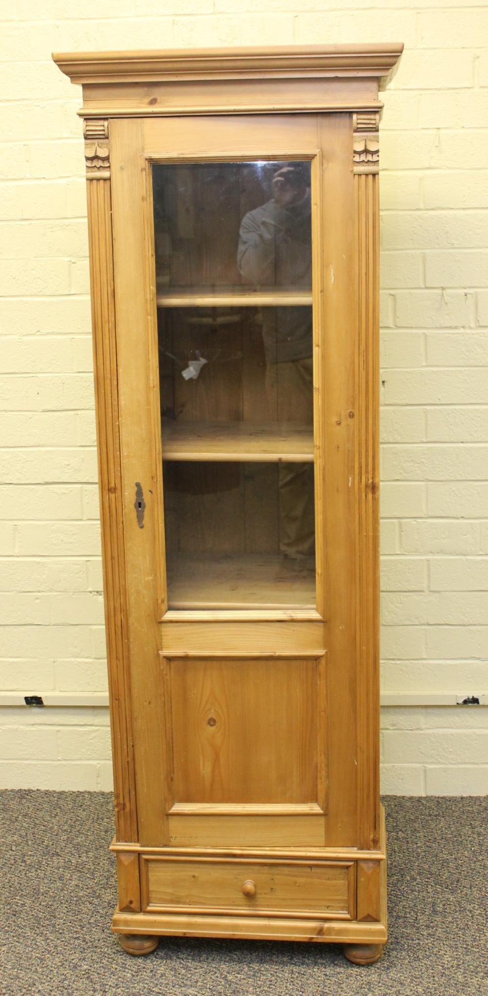Strip Pine Glass Front Cabinet