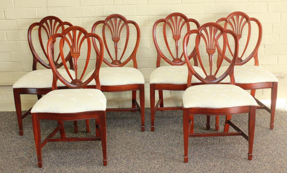 Set of 6 Balloon Back Mahogany Frame Dining Chairs