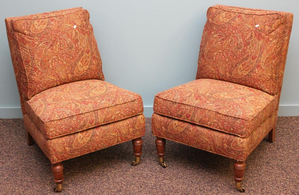 Pair of Lillian August by Drexel Heritage Paisley Slipper Chairs
