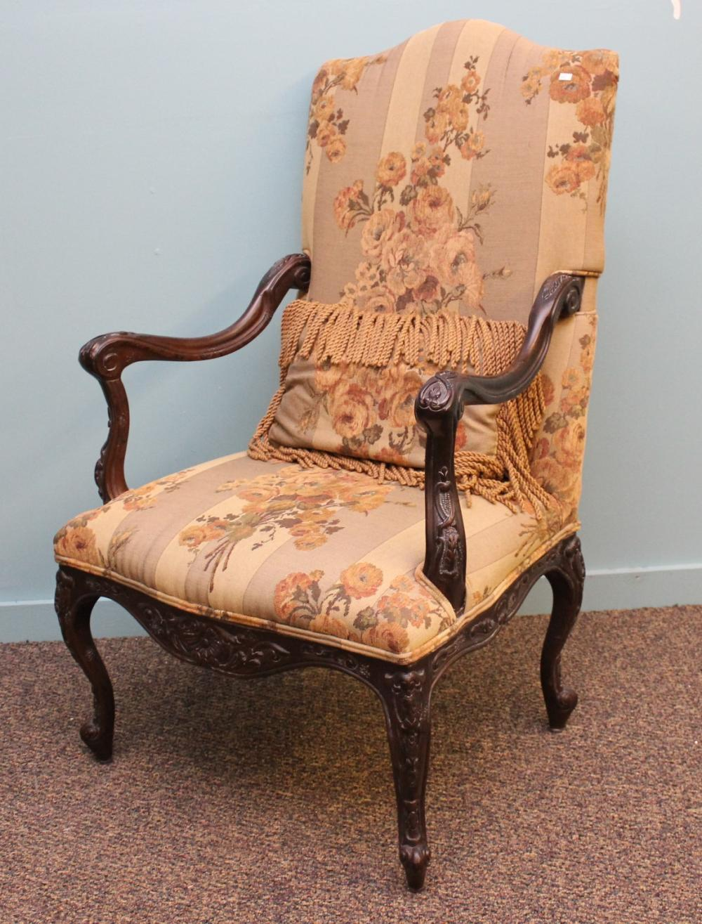 Upholstered French Arm Chair with Walnut Frame
