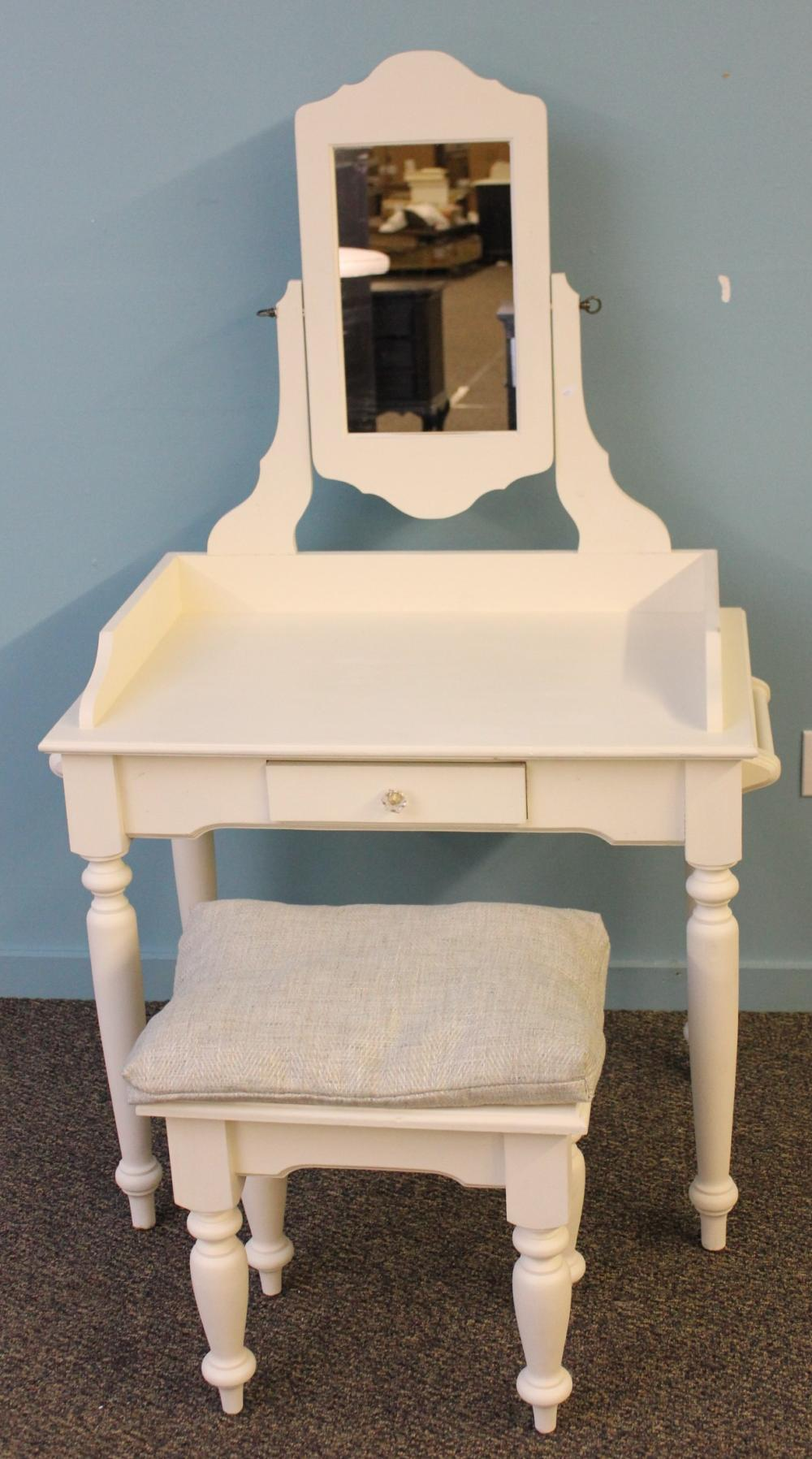 White Painted Vanity with Bench