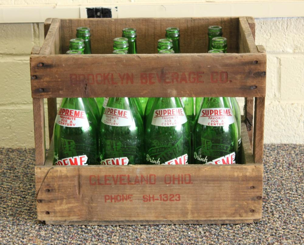 Set of 12 Supreme Beverage 24oz Glass Bottles with Crate