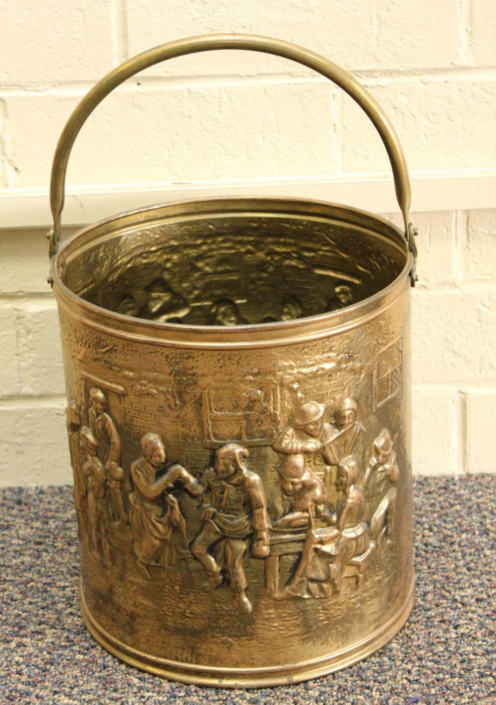 Brass Relief Bucket with Handle
