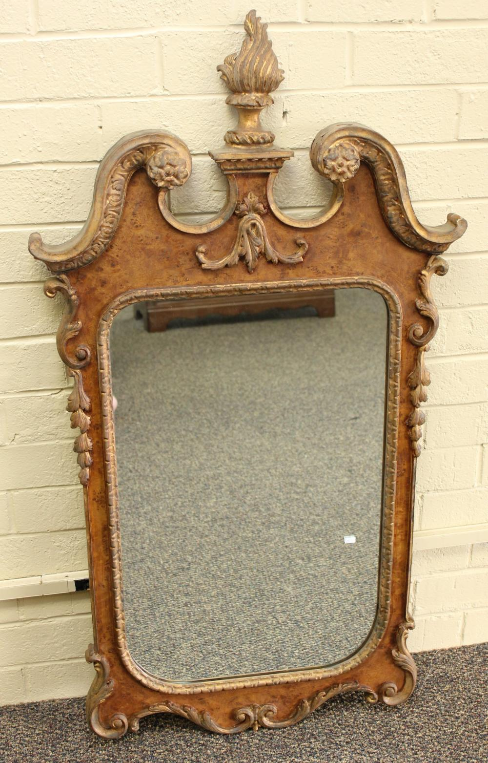 Antique Burl Front Mirror with Flame Carved Finial
