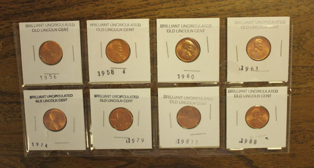 Set of 8 Uncirculated Old Lincoln Pennies