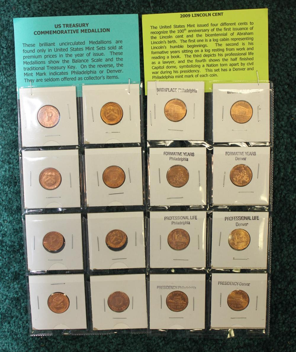 Set of Commemorative US Treasury Pennies and 2009 Lincoln Cents