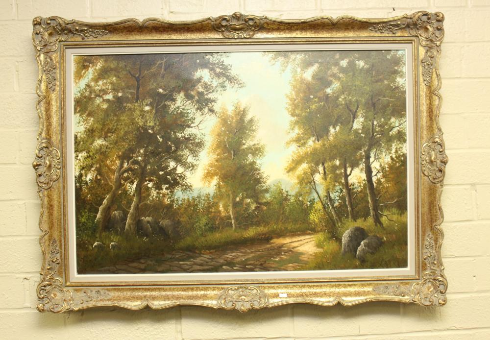 Oil on Canvas of Nature Scene in Ornate Frame