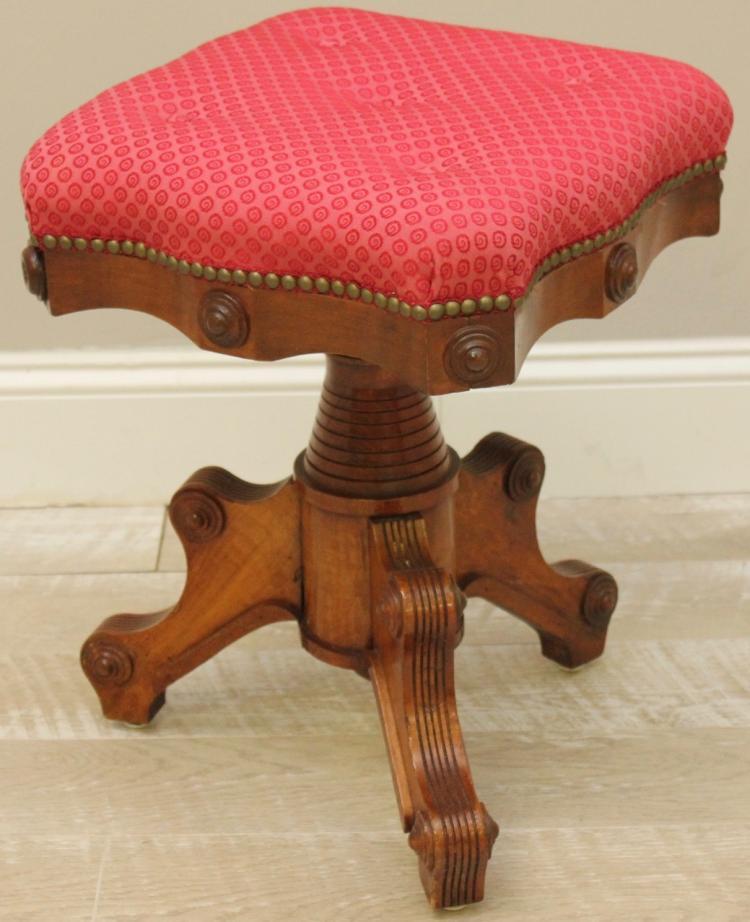 Antique eastlake walnut vanity bench - Antique vanity stools ...