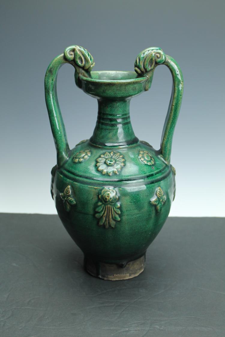 Green glazed carved vase
