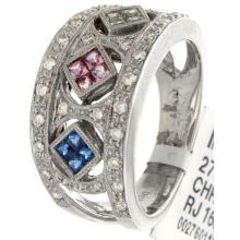 Genuine 14K White Gold 0.80ctw Rainbow Sapphire & Diamond Ring