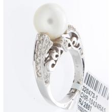 Genuine 14K White Gold 9.18ctw Pearl & Diamond Ring