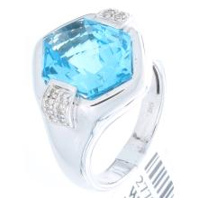 Genuine 14K White Gold 7.01ctw Topaz & Diamond Ring