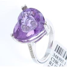 Genuine 14K White Gold 13.14ctw Amethyst & Diamond Ring