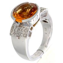 Genuine 18K White Gold 3.99ctw Citrine & Diamond Ring