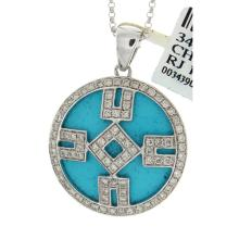 Genuine 14K White Gold 11.09ctw Turquoise & Diamond Pendant