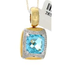 Genuine 18K 2Tone Gold 6.70ctw Topaz & Diamond Pendant
