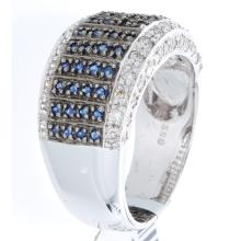 Genuine 14K White Gold 1.10ctw Sapphire & Diamond Ring