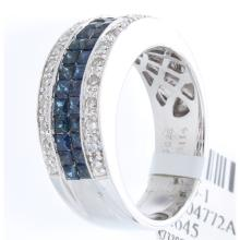 Genuine 18K White Gold 1.41ctw Sapphire & Diamond Ring