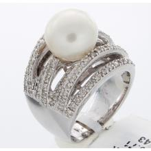 Genuine 14K White Gold 9.14ctw Pearl & Diamond Ring